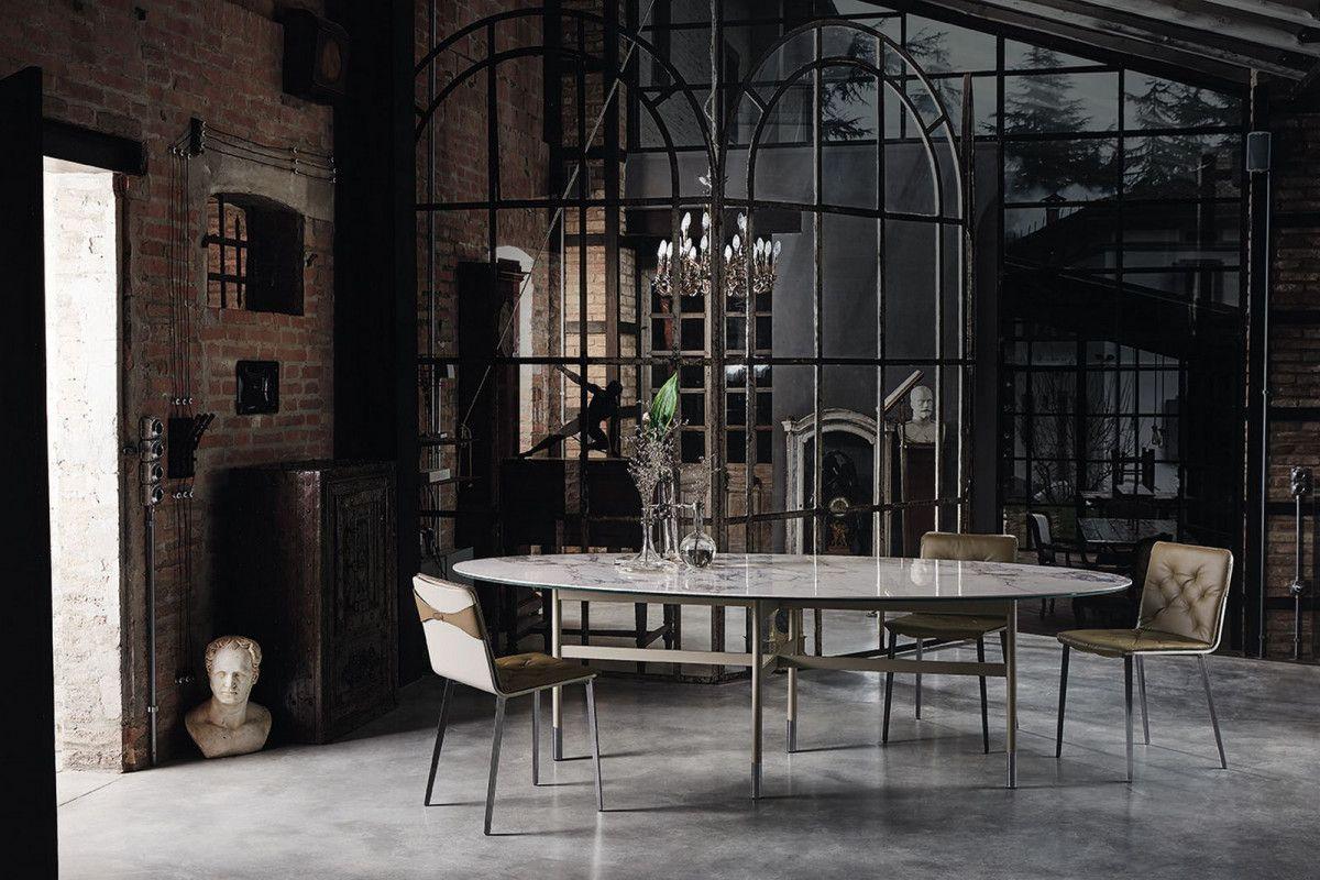 Tavolo GLAMOUR con Piano Ellittico 200 cm by Bontempi