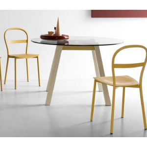 Tavolo T-TABLE con Piano Tondo by Connubia Calligaris